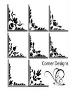 Floral Corners-ClipArt-Digital ArtClip-Background  - $4.00