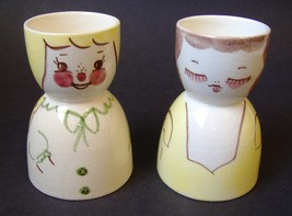 2 Egg Cups Woman Girl Mother Daughter Pair Vintage Ceramic Porcelain Col... - $20.00