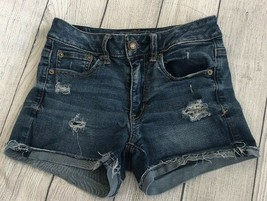 American Eagle Jean Shorts Super Stretch Distressed Size: 2 - $9.02