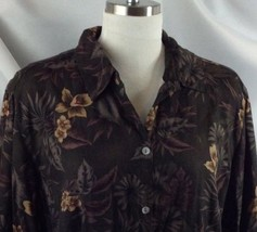 Caribbean Joe Tropical Floral Hawaiian Shirt Blouse Dark Chocolate Brown 1X - $24.26