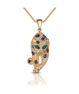 Yellow Gold Filled Simulated Diamond .925 Silver Panther Pendant With 18... - $76.86