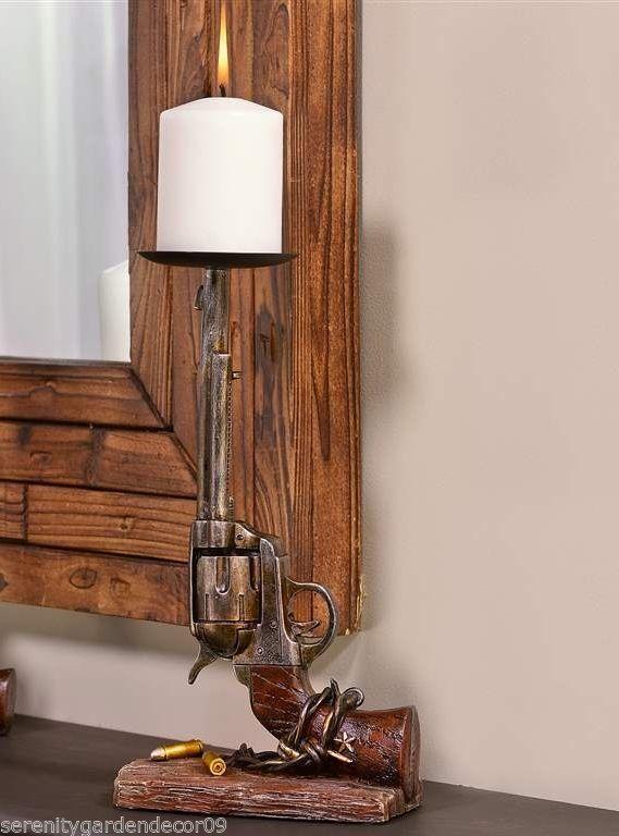"12"" Six Shooter Gun Design Pillar Candle Holder Polystone NEW"