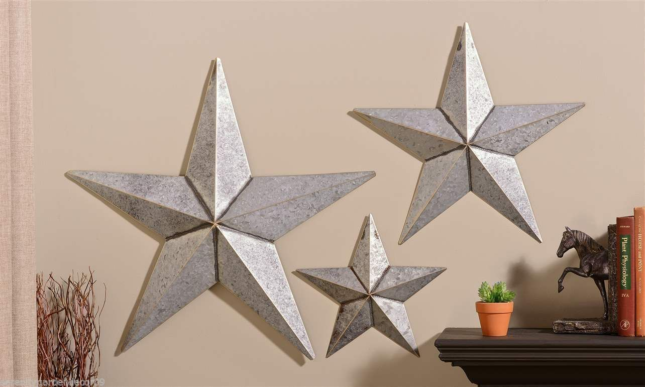 """Set of 3 Antiqued Silver Metal Star Design Wall Decor - 26"""" - 19"""" - 12"""""""