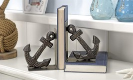 Set of 2 Black Iron Nautical Anchor Design Bookends NEW