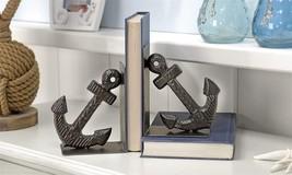 Set of 2 Black Iron Nautical Anchor Design Bookends - $59.39
