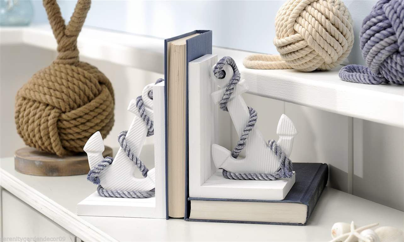 Set of 2 White MDF Nautical Anchor Design Bookends with Hemp Rope Detailing NEW
