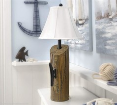 "29"" Nautical Dock Post Design Distressed Look Table Lamp w White Polyester Shade"