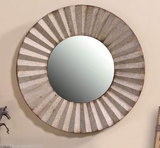 "24"" Round Rustic Metal & MDF Glass Mirror w Pleated Metal Frame Design NEW"