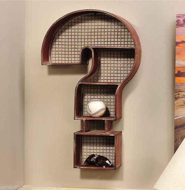"24"" Rustic Red Metal Question Mark Design Shelf - 5 Compartments - Mesh Detail"