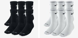 New Nike Men's Dri Fit Cotton Crew Socks 6 Pair M 6-8 Tennis Running SX4446 - $22.00
