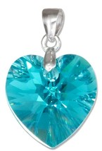 STERLING SILVER TEAL GREEN SWAROVSKI CRYSTAL HEART PENDANT - $18.00