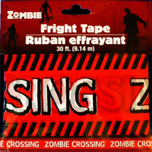 Funny ZOMBIE CROSSING Fright Caution Warning Tape Halloween Prop Decorat... - $3.93