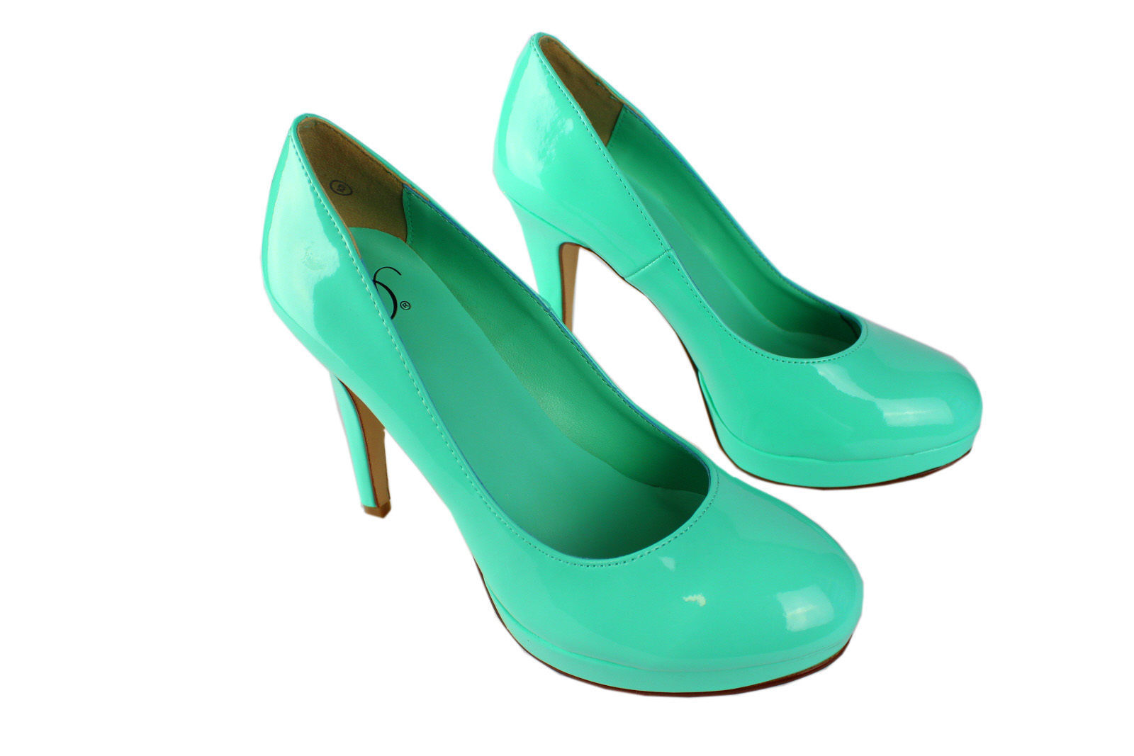 delicious high heel flat form shoes patent