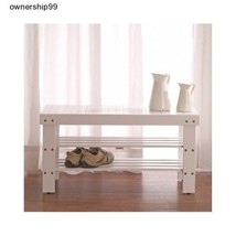 Wood Shoe Bench Entryway Storage Furniture Seat Hallway Rack White Shelf... - $57.92