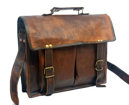 real leather vintage messenger mens Handmade genuine satchel brown briefcase bag - $64.34