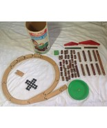 Lincoln Logs Round Can (47 pcs), Scout Set, 1974 and a Wooden Train set ... - $45.99