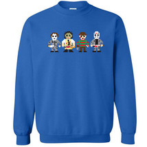 250 8 Bit Horror Villain Crew Sweatshirt funny gamer scary halloween nig... - $20.00+
