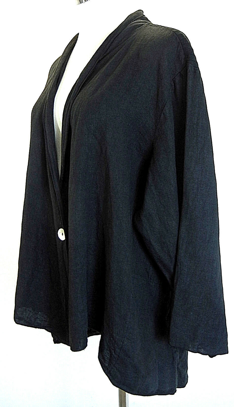FENINI USA Womens Swing Jacket 1X Linen One Button Draped Black Rib Back Plus