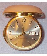 Vintage Westclox Travel Alarm Calendar Wind Up Clock in Fold Up Case - $19.95