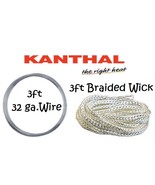 Kanthal 3ft Braided 2.0 Ekowool Wick + 3ft 32 AWG A-1 Wire 13.1ohm/ft Re... - $4.67