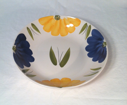 "La Primula Italy 13"" large shallow serving bowl blue yellow floral new - $10.00"