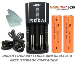 SODA Rapid Charger & MNKE 18650 1500mAh High Drain FLAT TOP 30A Battery ... - $20.97