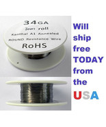 Kanthal 34 ga. 0.16002mm A-1 Wire 100ft Roll (30 meters) 21.1 Ohms/ft Re... - $6.54