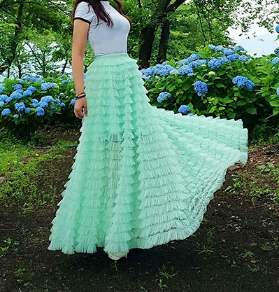 Mint green tulle skirt 7