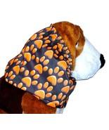 Dog Snood-Orange Paw Prints Black Cotton-Cavalier KC Spaniel-Lhasa-Puppy... - $9.50