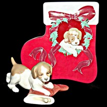 Retired Lladro NAO 7427 Puppys Christmas Dog Hiding Bone in Christmas Stocking - $129.99