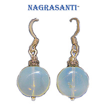 Nagrasanti SS Opalite Tablet Bead Drop Earrings - £14.53 GBP