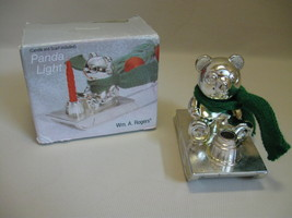 Wm A Rogers Silver Plate Panda On Sleigh Candle Stick Holder With Box - $9.95