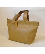 Coach Purse Handbag Camel Tan Brown Leather Tote Satchel Double Handles ... - $125.00