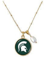 Michigan State Spartans Diana Gold and Pearl Saturn Necklace Jewelry Gif... - $16.82