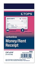 TOPS Money Receipt Book, 2-Part, Carbonless, 2 5/8 x 5 3/8 Inches, 50 Sh... - $5.96