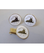 Steamboat Cuff Links Tie Tack Clasp Set Vintage Hickok River Enamel Gold... - $30.00