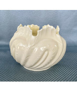 Rose Bowl Cache Pot Vase Nautilus IRISH BELLEEK Porcelain Bowl Green Mark - $32.73