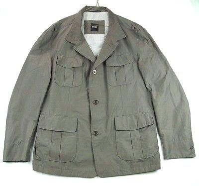bb8eec15b BOSS HUGO BOSS Military Style Cylber-W Coat Jacket Gray Brown 46 R EUC
