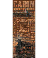 """Cabin Rules 12"""" x 30"""" Wood Sign by Terry Redlin - $59.95"""