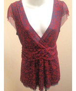 Ric Rac Anthropologie 6 Top Red Blue Floral Mesh Ruched Shirt - $21.54