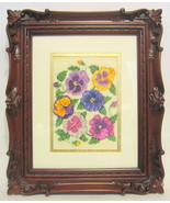 Framed Cross Stitch Pansy Embroidery Wall Art - $49.00