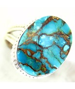Blue Copper Turquoise Oval cabochon Sterling Silver 925 Ring Size 7-1/2 ... - $67.36