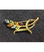 """Monet Multi-Color Crystal Floral Leaf Pin Brooch Goldtone Vintage Signed 2"""" - $35.40"""