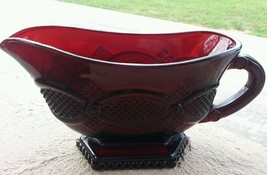 Vintage AVON 1876 CAPE COD Collection Ruby Red Glass Footed GRAVY Sauce ... - $14.84
