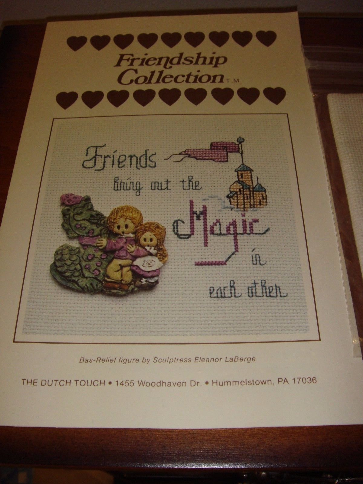 Friendship Collection Cross Stitch Pattern Friends Magic With Figurine & Fabric  image 2