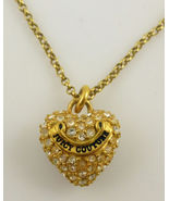 JUICY COUTURE Gold Plated Pave Crystal Heart PENDANT and Chain NECKLACE ... - $30.00