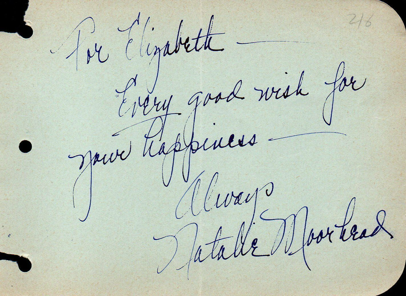 Primary image for NATALIE MOORHEAD Autograph. Nicely signed. Movie actress.