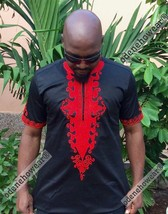 Odeneho Wear Men's Black Polished Cotton/Red Embroidery To. African Clothing.2XL - $75.23