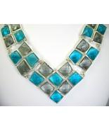 Dramatic Faceted Squares of Blue Topaz Glass + Smokey Quartz Glass Neckl... - $93.12