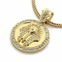 """Mens 14k Gold Plated XL Pharaoh Pendant with 4mm 30"""" Franco Chain - $29.69"""